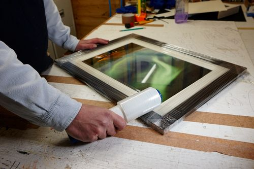 Acorn Framing - wrapping the frame for transportation
