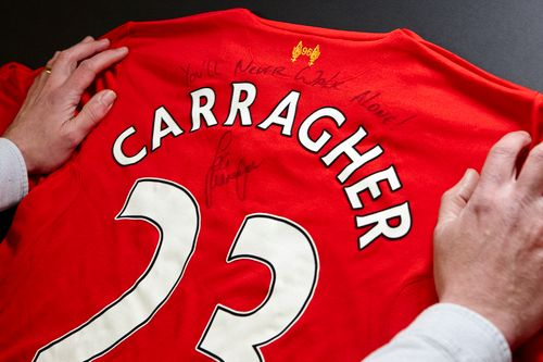 Signed Jamie Carragher Liverpool Shirt