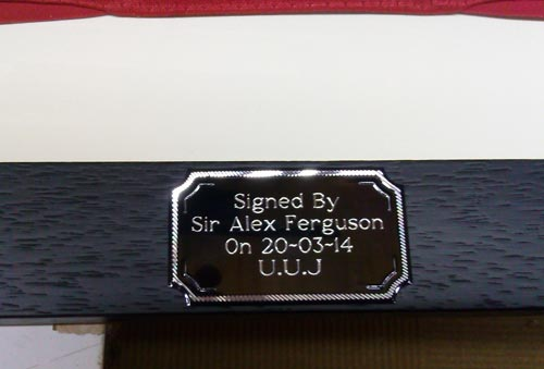 Manchester United shirt signed by Sir Alex Ferguson