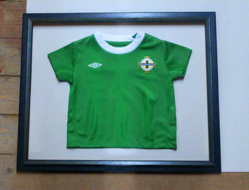 Baby Northern Ireland football shirt framed