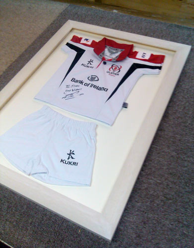 framed bespoke baby ulster rugby shirt