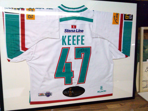signed framed Belfast Giants jersey