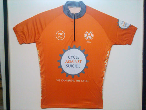 corporate company sponsored framed cycling jersey
