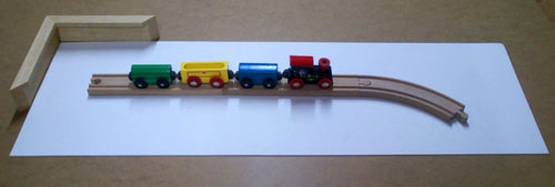 framing a childs toy train for an 18th birthday present