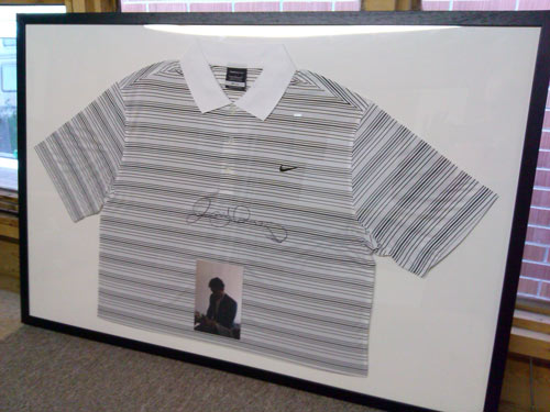 framed signed Rory McIlroy shirt with photo COA