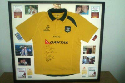 Acorn Framing signed australia rugby shirt
