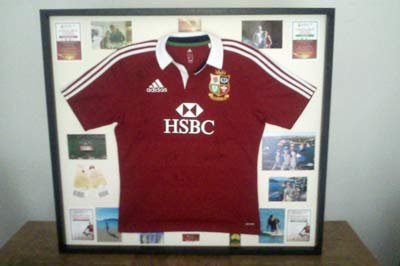 Acorn Framing signed british irish lions rugby shirt