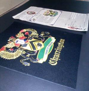 framed item coat of arms heraldry framing