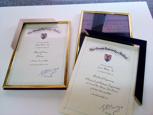 framed degree diploma certificates