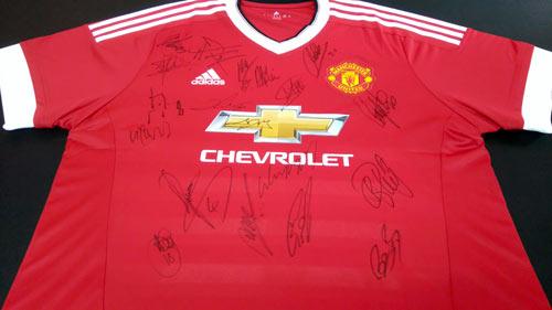 framed signed manchester united shirt