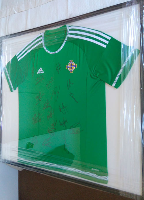 framed signed northern ireland football shirt