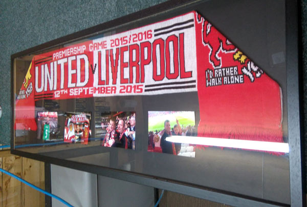 framed soccer football scarf manchester united liverpool game